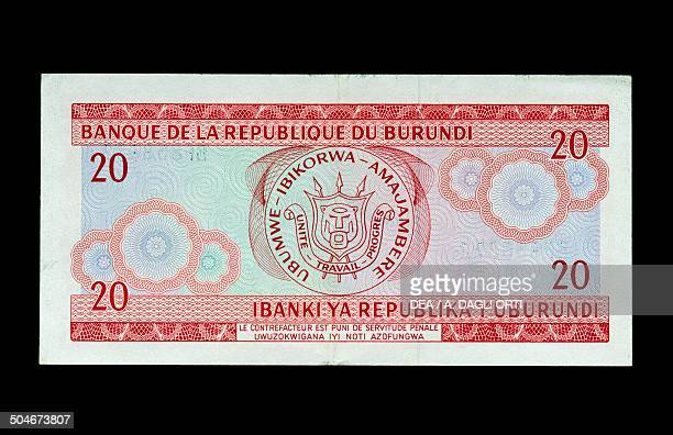 Francs banknote, 1990-1999, with the coat of arms of Burundi, 20th century.