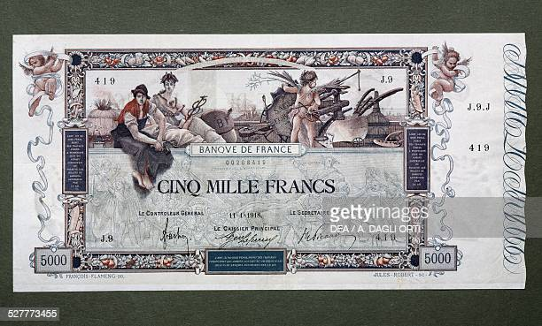Francs banknote Flameng type, obverse, allegory of Labour and Science, Cupid with scales and shield. France, 20th century.