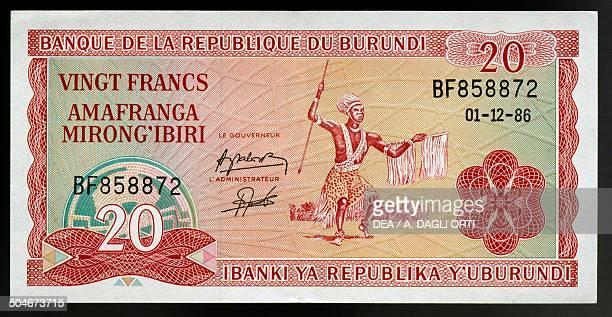 Francs banknote from Burundi, 1990-1999, obverse depicting a warrior. Burundi, 20th century.