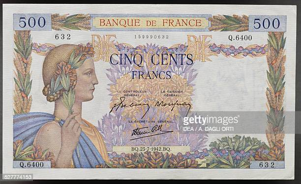 500 francs banknote obverse female face allegory of peace France 20th century