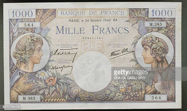 1000 francs banknote obverse female faces France 20th century
