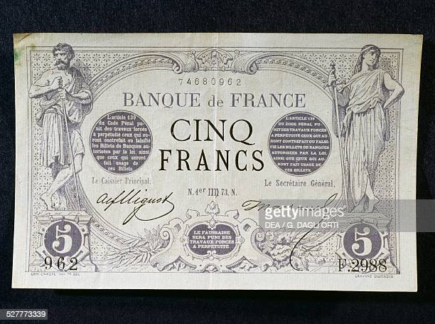 5 francs banknote obverse France 20th century
