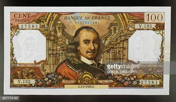 100 francs banknote obverse Pierre Corneille and the interior of the Royal Opera of Versailles France 20th century