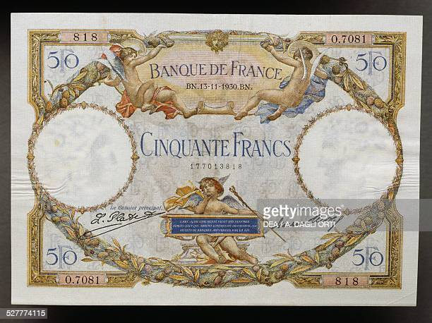 Francs banknote obverse, winged putto . France, 20th century.