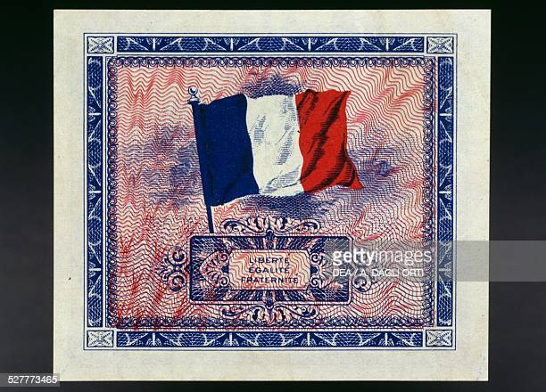 Francs banknote reverse, flag. American occupation of France, 20th century.