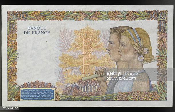 500 francs banknote reverse male and female face France 20th century