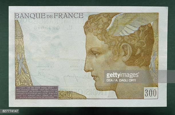 Francs banknote reverse, Mercury. France, 20th century.