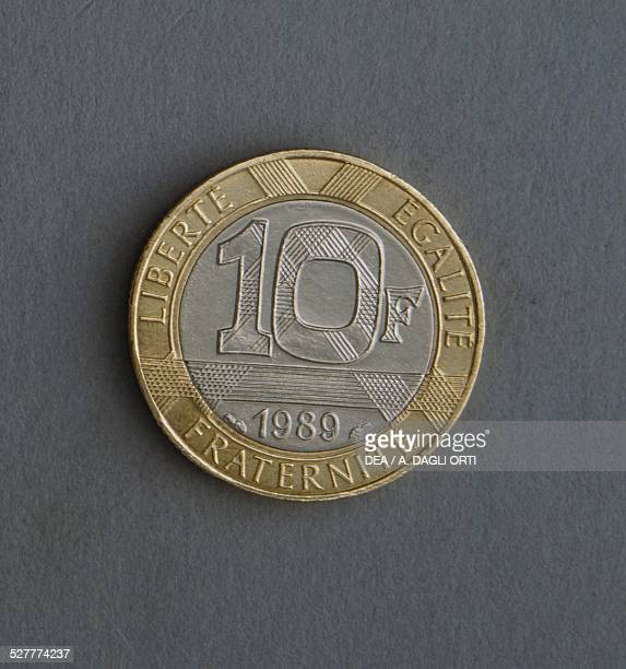 Francs coin reverse. France, 20th century.