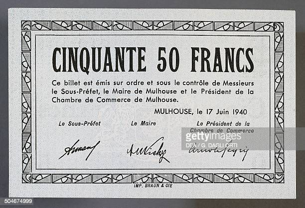 50 francs note issued in Mulhouse June 17 reverse France 20th century