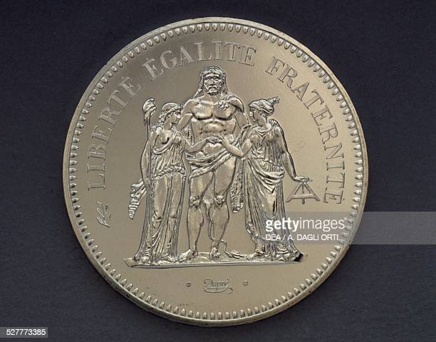 Francs silver coin obverse, Hercules. France, 20th century.