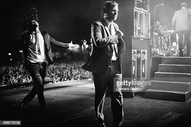 Frank A Delle and Peter Fox, singer of the band Seeed, walk of the stage during the second day of the Lollapalooza Berlin music festival at Tempelhof...