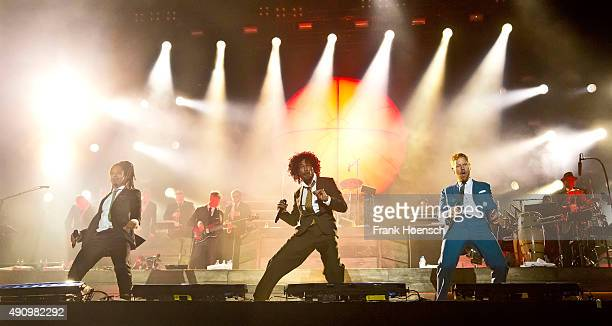 Frank A Delle, Demba 'Boundzound' Nabe and Peter Fox, singer of the German band Seeed, perform live on stage during the second day of the...