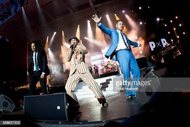 Frank A Delle, Demba 'Boundzound' Nabe and Peter Fox, singer of the band Seeed perform live during the Peace X Peace Festival at the Waldbuehne on...