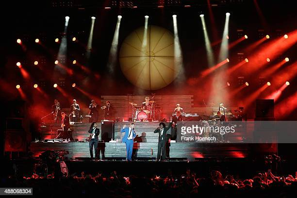 Frank A Delle Peter Fox and Demba 'Boundzound' Nabe singer of the band Seeed perform live on stage during the second day of the Lollapalooza Berlin...
