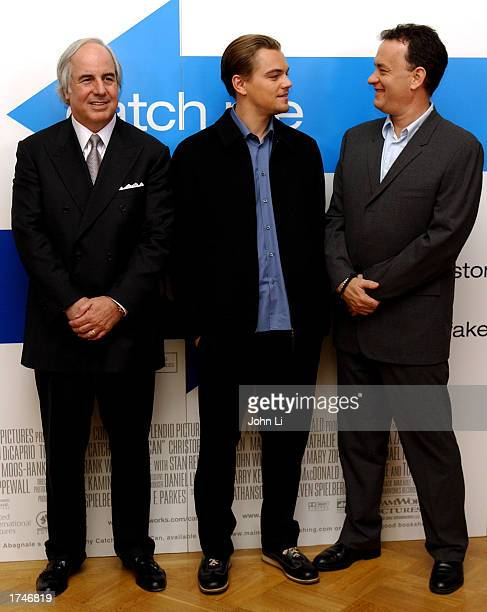 Frank Abagnale Leonardo DiCaprio and Tom Hanks attend a press conference before the United Kingdom premiere of the movie Catch Me If You Can January...