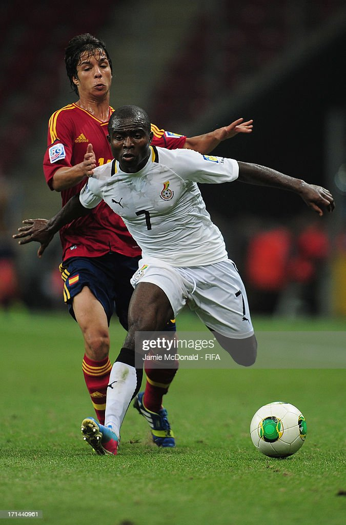 Frank Acheampong of Ghana battles with Olivier of Spain during the FIFA U-20 World Cup Group A match between Spain and Ghana at the Ali Sami Yen Arena on June 24, 2013 in Istanbul, Turkey.