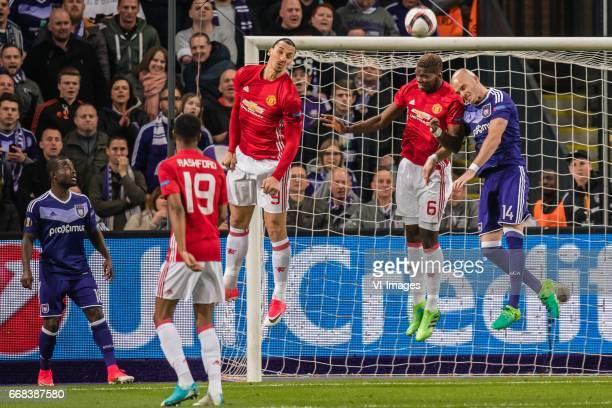 Frank Acheampong of RSC Anderlecht Marcus Rashford of Manchester United Zlatan Ibrahimovic of Manchester United Paul Pogba of Manchester United Bram...