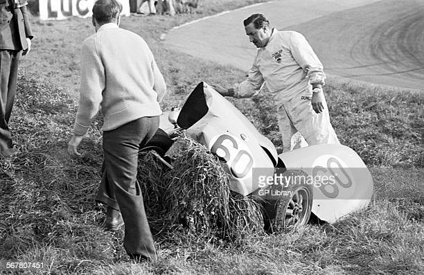 Frank Aikens with Dennis Taylor and a shunted Lola Mk 2 Formula Junior car. John Davy Trophy, Brands Hatch, England 16 October 1960.