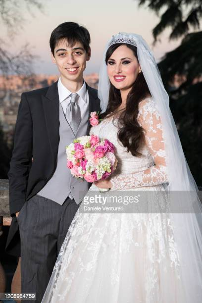Frank Albert Maietto and Isabelle Adriani attends the wedding of Earl Vittorio Palazzi Trivelli And Isabelle Adriani on February 22 2020 in Rome Italy