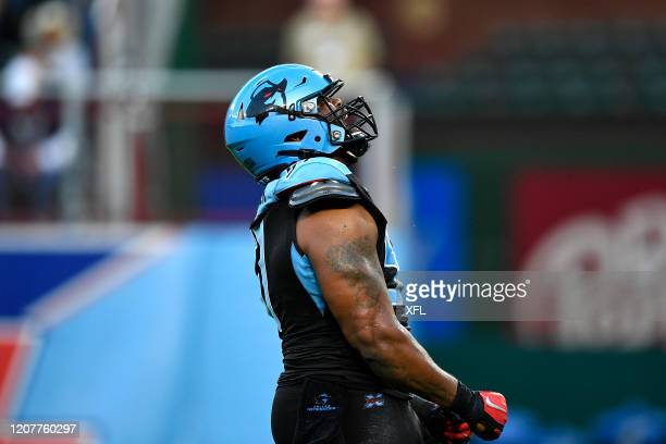 Frank Alexander of the Dallas Renegades reacts to a play during the XFL game against the St. Louis BattleHawks at Globe Life Park on February 9, 2020...