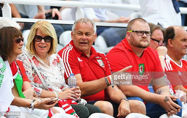 Frank and Debbie Bale parents of Gareth Bale look on prior to the UEFA EURO 2016 Group B match between England and Wales at Stade BollaertDelelis on...