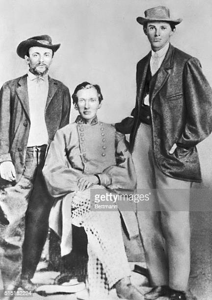 Frank and Jesse James with fellow comrade during their soldiering in the Confederate Army Undated photograph