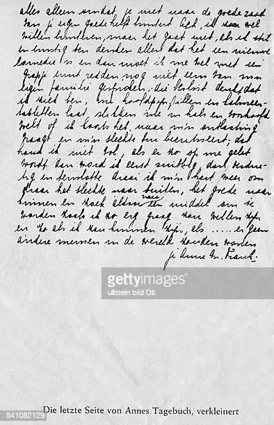 Frank Anne *Maerz 1945Juedin D die letzte Seite des Tagebuchs undatiert