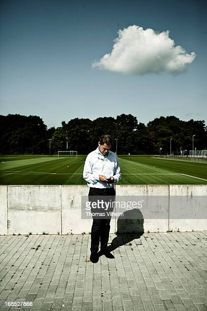 Frank Arnesen at the training facility next to the Imtech Arena in Hamburg Germany 3rd August 2012 Former Danish football player currently sporting...