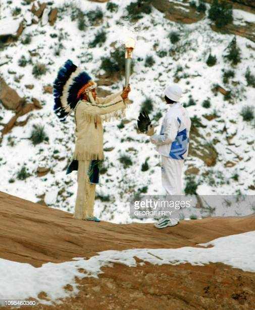 Frank B Arrowchis a member of the Native American Northern Ute Indian Tribe performs a ceremony with his granddaughter Stephanie Laree Spann at the...