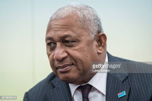 """Frank Bainimarama, Prime Minister of Fiji and President of COP 23, is seen prior to a discussion at the America's Pledge launch event at the U.S. """"We..."""