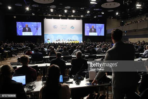Frank Bainimarama Prime Minister of Fiji and President of the COP 23 speaks at the opening session of the COP 23 United Nations Climate Change...