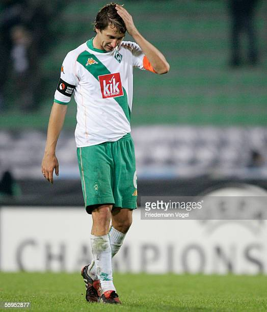 Frank Baumann of Werder looks dejected after the Champions League Group C match between Udine Calcio and Werder Bremen at the Friuli Stadium on...