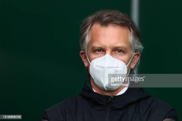 Frank Baumann, Sporting Director of SV Werder Bremen looks on prior to the Bundesliga match between SV Werder Bremen and Bayer 04 Leverkusen at...