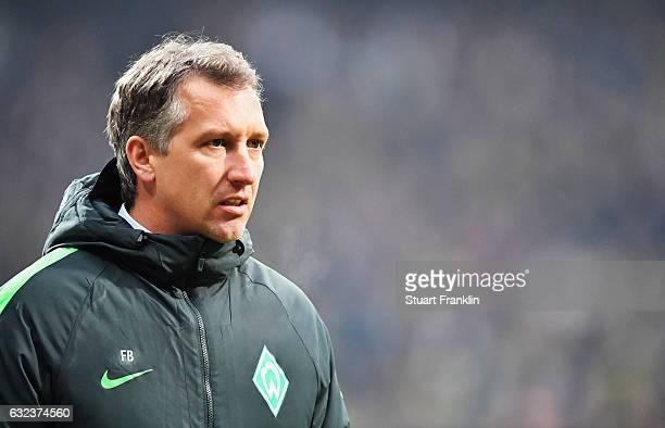 Frank Baumann sports director of Bremen looks on during the Bundesliga match between Werder Bremen and Borussia Dortmund at Weserstadion on January...