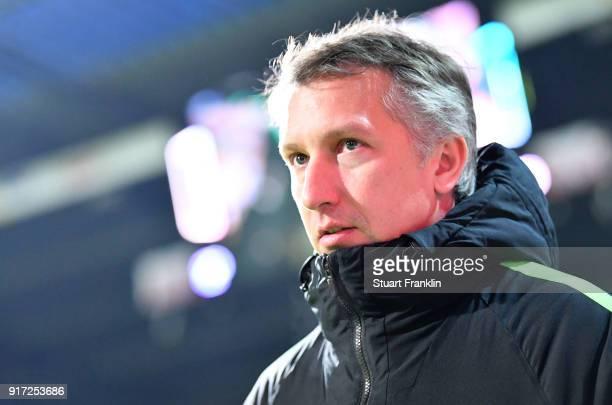 Frank Baumann sports director of Bremen looks on during the Bundesliga match between SV Werder Bremen and VfL Wolfsburg at Weserstadion on February...