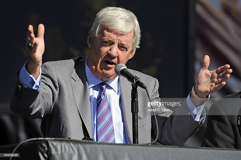 Frank Beamer, Virginia Tech Head Coach, speaks during a press conference at Bristol Motor Speedway on October 14, 2013 in Bristol, Tennessee. Bristol Motor Speedway plans to transform the legendary Speedway into the world's largest football stadium for the inaugural Battle at Bristol, to be held on Saturday, September 10, 2016. The event will feature a game between the Virginia Tech Hokies and Tennessee Volunteers and is projected to set the NCAA record for highest single-game attendance.
