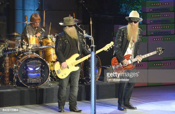 Frank Beard Dusty Hill and Billy Gibbons of ZZ Top performs during the band's 'Tonnage' tour at The Mountain Winery on August 29 2017 in Saratoga...