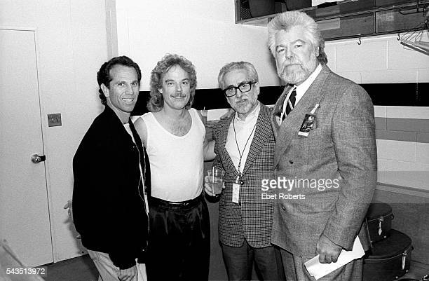 Frank Beard of ZZ Top backstage at the LA Forum with manager Bill Ham on November 26 1990