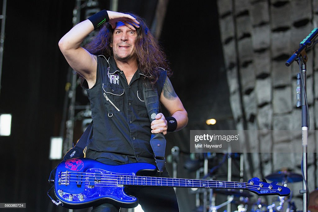 Frank Bello of Anthrax performs on stage during the 99.9 KISW Pain In The Grass music festival at White River Amphitheatre on August 21, 2016 in Auburn, Washington.