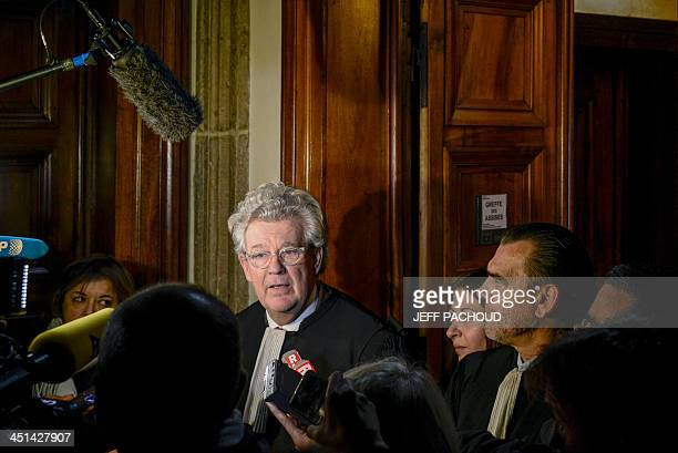 Frank Berton and Hubert Delarue lawyers of Stephane Moitoiret and Roksana Naserzadeh lawyer of Noella Hego answers journalists' questions at the Lyon...
