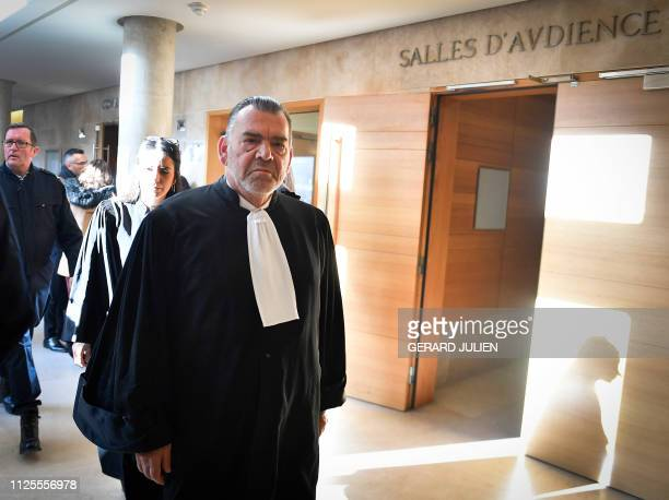 Frank Berton lawyer of Ali Bouchareb arrives at the Assize Court of AixEnProvence southern France prior to a court hearing in the trial over 'Air...