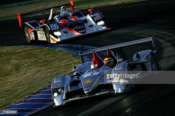 Frank Biela drives the Audi R10 ahead of Liz Halliday in the Intersport Racing Lola B05/40 during the American Le Mans Series Portland Grand Prix on...