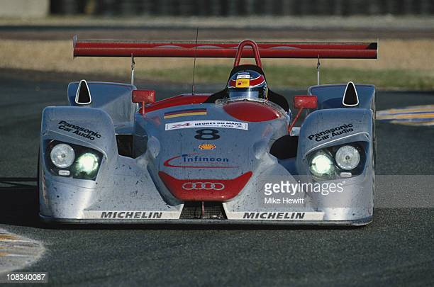 Frank Biela drives the Audi Sport Team Joest Audi R8 during the FIA World Sportscar Championship 24 Hours of Le Mans race on 18th June 2000 at the...