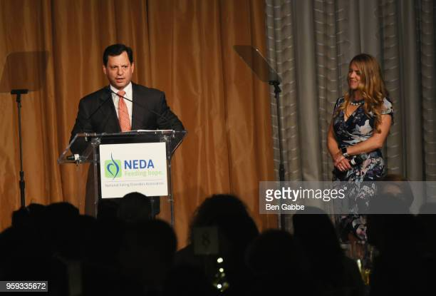 Frank Bisignano and Shelly Steinwurtzel speak onstage during the National Eating Disorders Association Annual Gala 2018 at The Pierre Hotel on May 16...