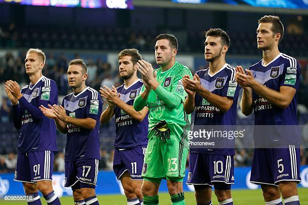 Frank Boeckx goalkeeper of RSC Anderlecht celebrates pictured during Croky Cup match between RSC Anderlecht and OHL on September 21 2016 in Brussels...