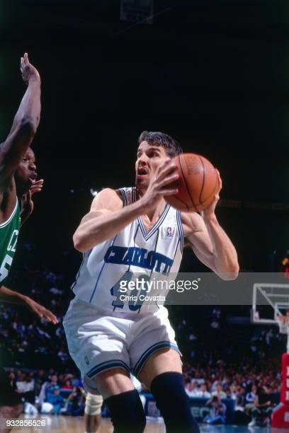 Frank Brickowski of the Charlotte Hornets shoots on March 14 1994 at the Charlotte Coliseum in Charlotte North Carolina NOTE TO USER User expressly...