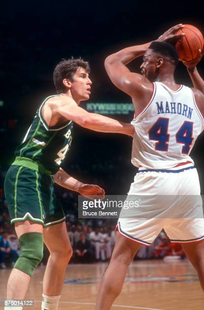 Frank Brickowski of the Milwaukee Bucks defends against Rick Mahorn of the Philadelphia 76ers during Game 3 of the NBA Eastern Division Finals on...