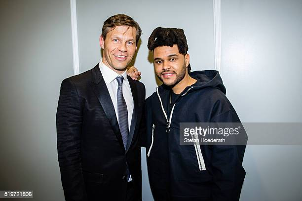 Frank Briegmann and Abel Makkonen Tesfaye alias The Weeknd pose during the preparty hosted by Universal Music ahead of the Echo Award 2016 at ICB on...