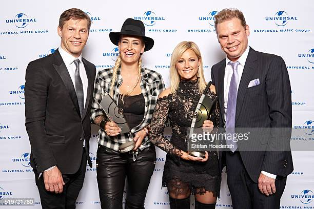 Frank Briegmann, Sarah Connor, Helene Fischer and Tom Bohne attend the pre-party hosted by Universal Music ahead of the Echo Award 2016 at ICB on...