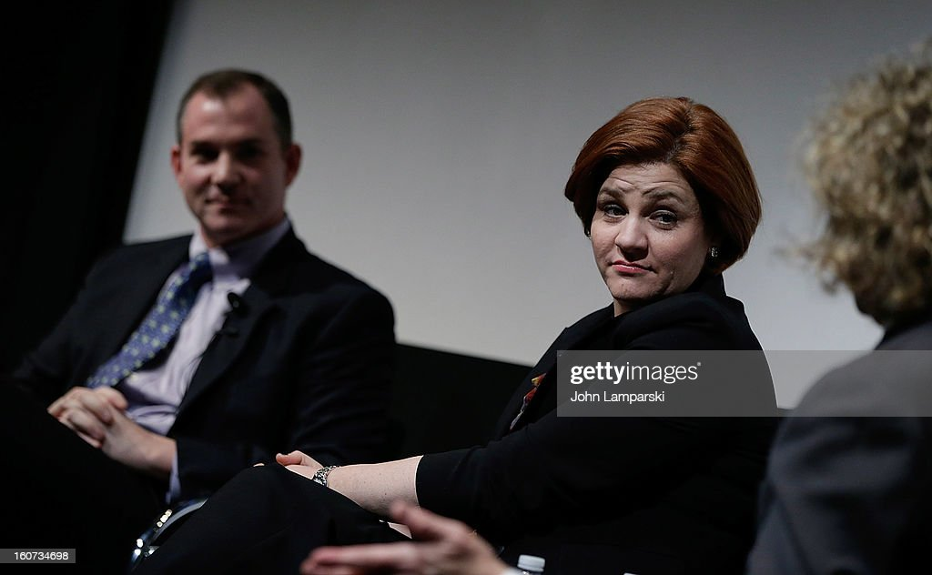 Frank Bruni and New York City Council Speaker Christine Quinn attend Same-Sex Marriage: Law & Culture Press Conference With Debra Messing at Time Warner Screening Room on February 4, 2013 in New York City.